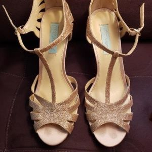 Blue by Betsey Johnson Gold Heels